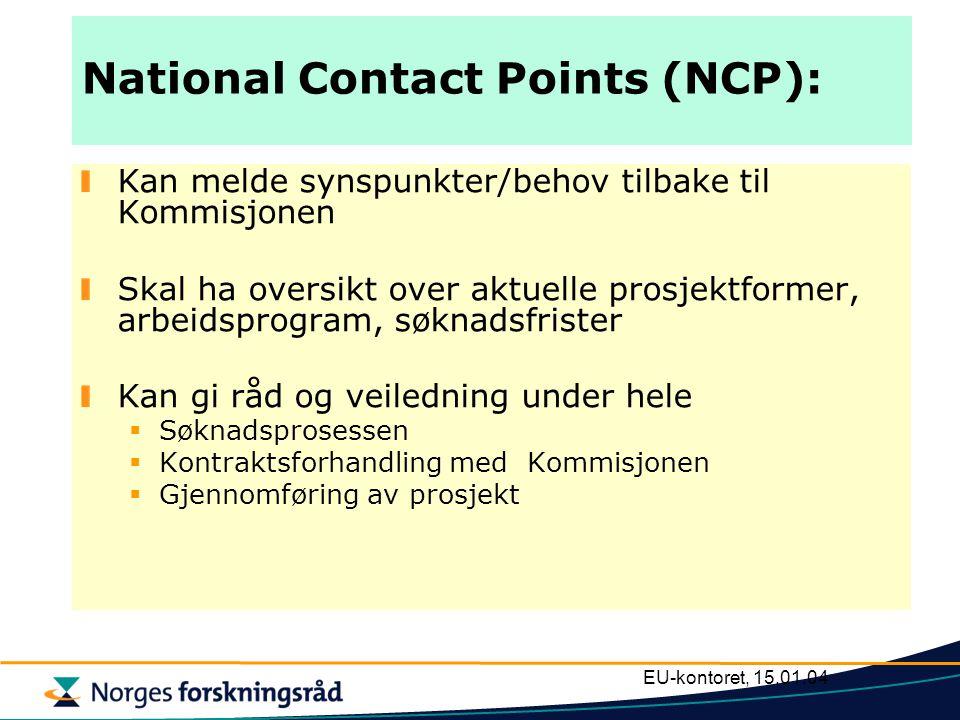 EU-kontoret, 15.01.04 National Contact Points (NCP): Kan melde synspunkter/behov tilbake til Kommisjonen Skal ha oversikt over aktuelle prosjektformer, arbeidsprogram, søknadsfrister Kan gi råd og veiledning under hele  Søknadsprosessen  Kontraktsforhandling med Kommisjonen  Gjennomføring av prosjekt