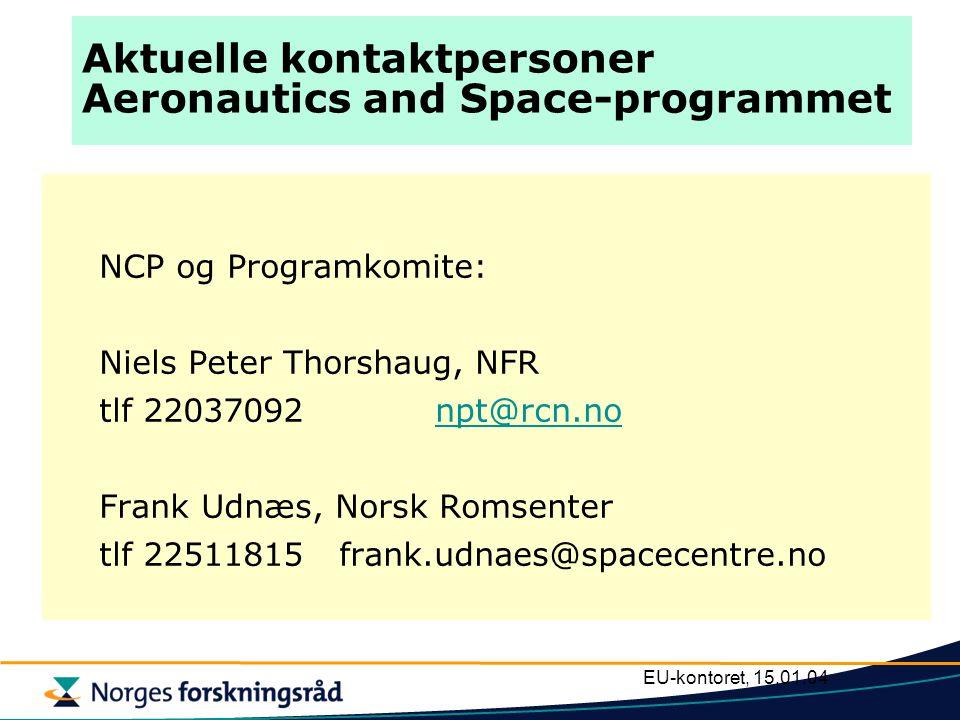 EU-kontoret, 15.01.04 Aktuelle kontaktpersoner Aeronautics and Space-programmet NCP og Programkomite: Niels Peter Thorshaug, NFR tlf 22037092 npt@rcn.nonpt@rcn.no Frank Udnæs, Norsk Romsenter tlf 22511815frank.udnaes@spacecentre.no