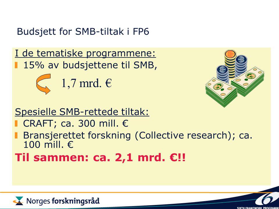 Budsjett for SMB-tiltak i FP6 I de tematiske programmene: 15% av budsjettene til SMB, Spesielle SMB-rettede tiltak: CRAFT; ca. 300 mill. € Bransjerett