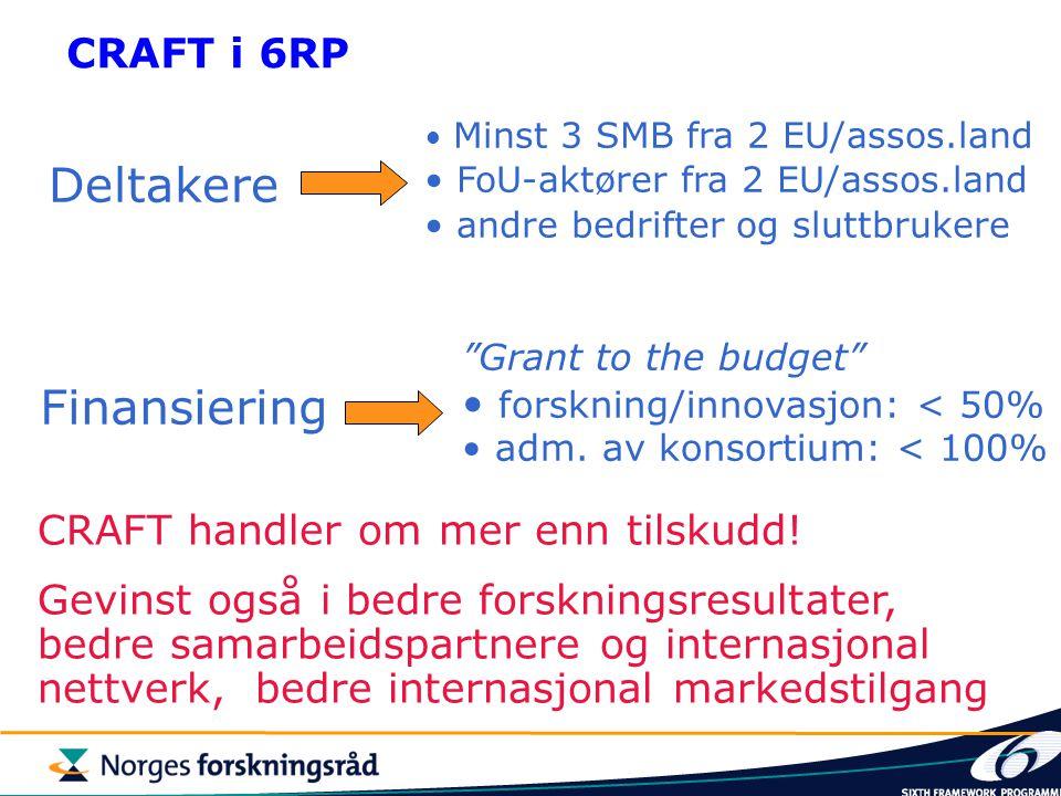 CRAFT i 6RP Deltakere Finansiering CRAFT handler om mer enn tilskudd! Gevinst også i bedre forskningsresultater, bedre samarbeidspartnere og internasj