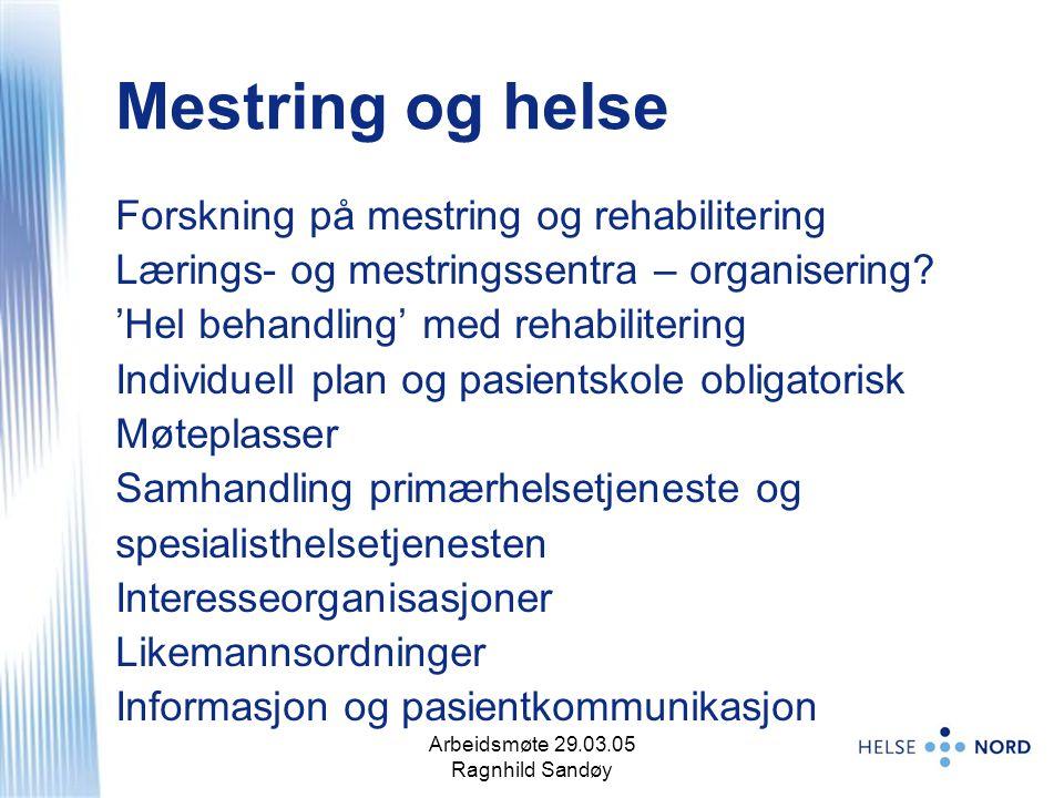Arbeidsmøte 29.03.05 Ragnhild Sandøy 13 Mestring og helse Forskning på mestring og rehabilitering Lærings- og mestringssentra – organisering? 'Hel beh