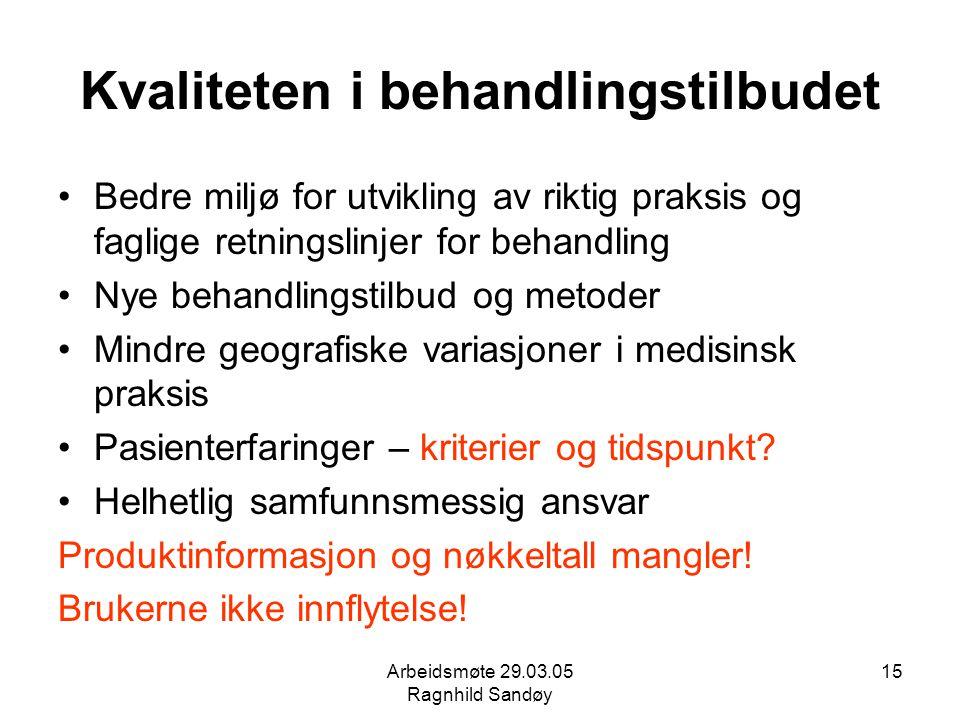 Arbeidsmøte 29.03.05 Ragnhild Sandøy 15 Kvaliteten i behandlingstilbudet Bedre miljø for utvikling av riktig praksis og faglige retningslinjer for beh