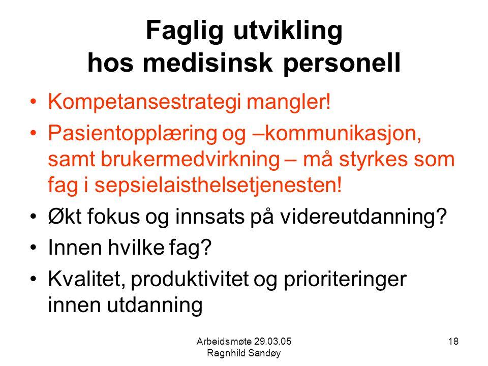 Arbeidsmøte 29.03.05 Ragnhild Sandøy 18 Faglig utvikling hos medisinsk personell Kompetansestrategi mangler! Pasientopplæring og –kommunikasjon, samt