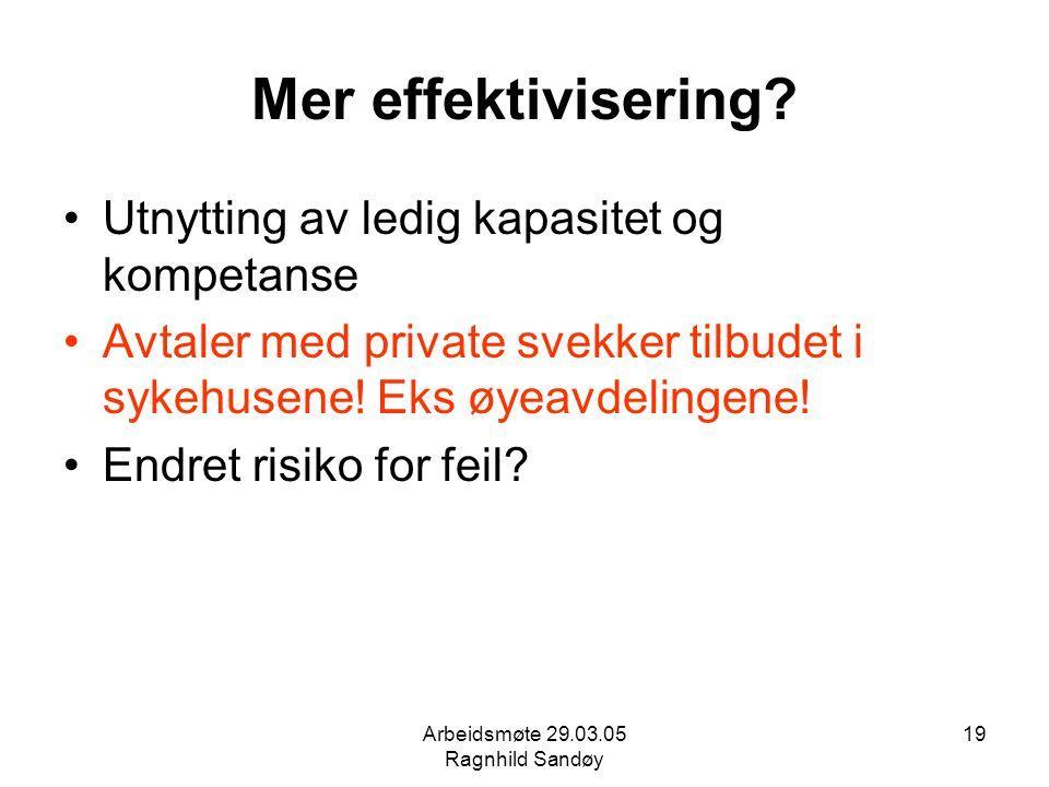 Arbeidsmøte 29.03.05 Ragnhild Sandøy 19 Mer effektivisering? Utnytting av ledig kapasitet og kompetanse Avtaler med private svekker tilbudet i sykehus