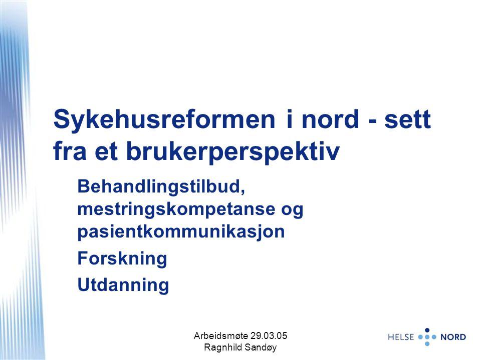Arbeidsmøte 29.03.05 Ragnhild Sandøy 2 Sykehusreformen i nord - sett fra et brukerperspektiv Behandlingstilbud, mestringskompetanse og pasientkommunikasjon Forskning Utdanning
