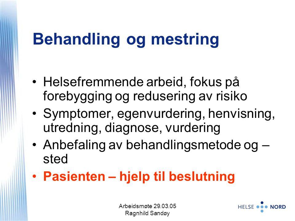Arbeidsmøte 29.03.05 Ragnhild Sandøy 3 Helsefremmende arbeid, fokus på forebygging og redusering av risiko Symptomer, egenvurdering, henvisning, utred