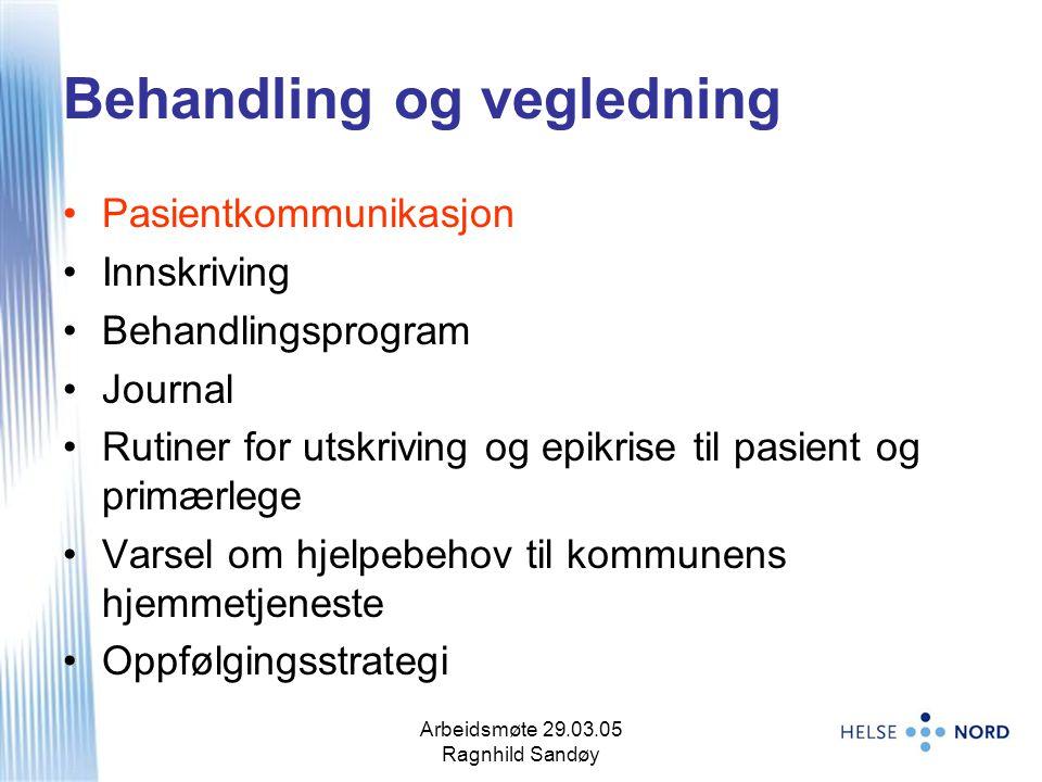 Arbeidsmøte 29.03.05 Ragnhild Sandøy 8 Behandling og vegledning Pasientkommunikasjon Innskriving Behandlingsprogram Journal Rutiner for utskriving og
