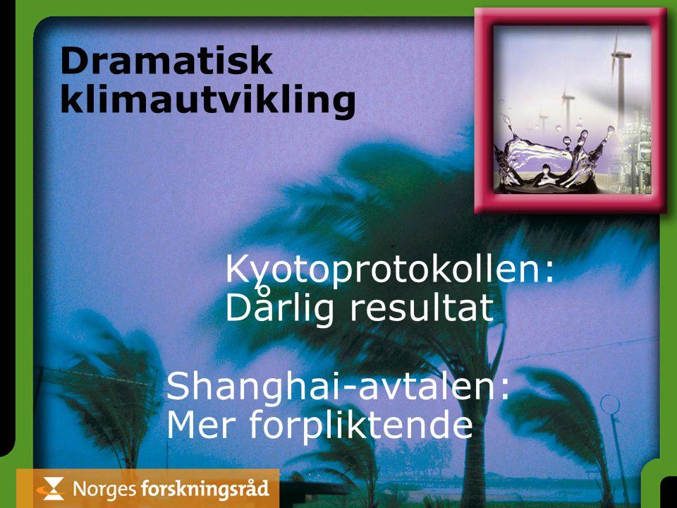 Dramatisk klimautvikling Kyotoprotokollen: Dårlig resultat Shanghai-avtalen: Mer forpliktende