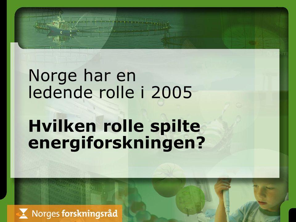 Norge har en ledende rolle i 2005 Hvilken rolle spilte energiforskningen?