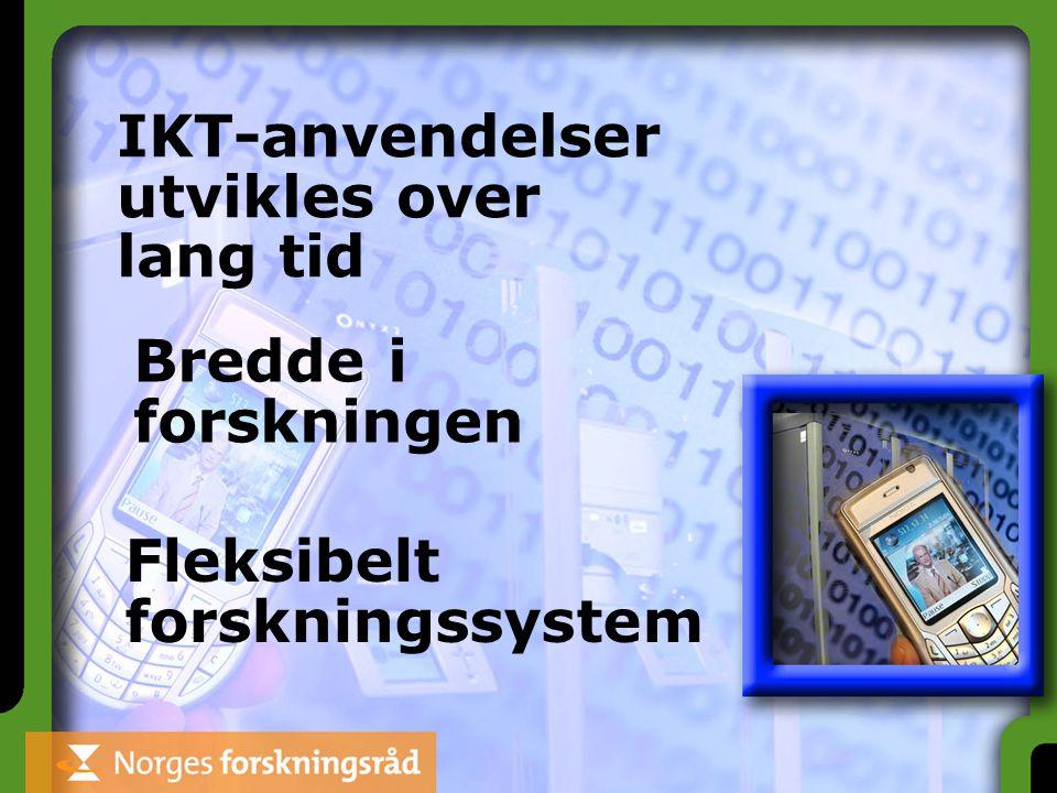 Bredde i forskningen IKT-anvendelser utvikles over lang tid Fleksibelt forskningssystem