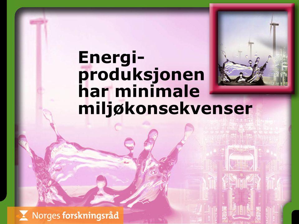 Energi- produksjonen har minimale miljøkonsekvenser