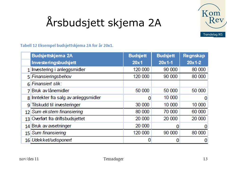 Årsbudsjett skjema 2A 13nov/des 11Temadager