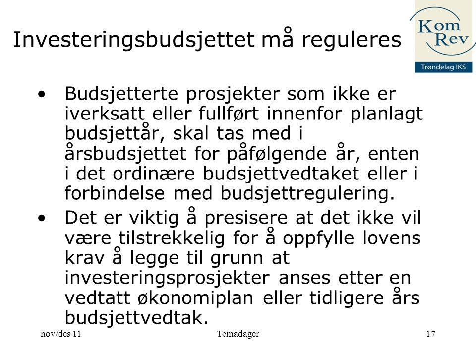 Investeringsbudsjettet må reguleres Budsjetterte prosjekter som ikke er iverksatt eller fullført innenfor planlagt budsjettår, skal tas med i årsbudsjettet for påfølgende år, enten i det ordinære budsjettvedtaket eller i forbindelse med budsjettregulering.