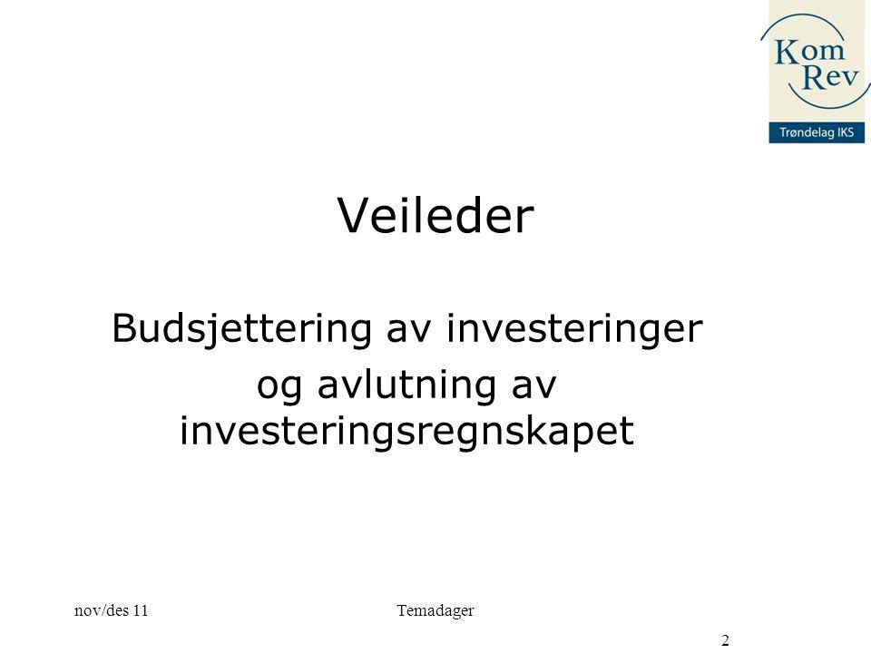 Veileder Budsjettering av investeringer og avlutning av investeringsregnskapet nov/des 11 2 Temadager