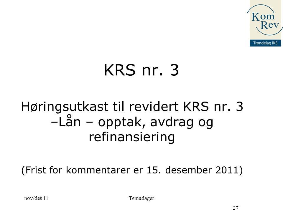 KRS nr.3 Høringsutkast til revidert KRS nr.