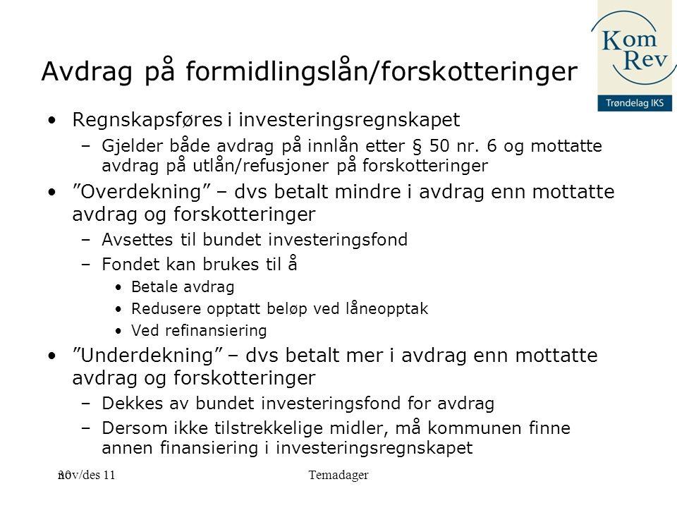 30 Avdrag på formidlingslån/forskotteringer Regnskapsføres i investeringsregnskapet –Gjelder både avdrag på innlån etter § 50 nr.