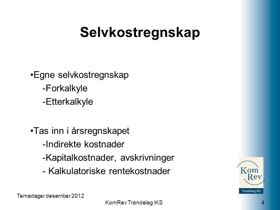 KomRev Trøndelag IKS Selvkostregnskap Egne selvkostregnskap -Forkalkyle -Etterkalkyle Tas inn i årsregnskapet -Indirekte kostnader -Kapitalkostnader,