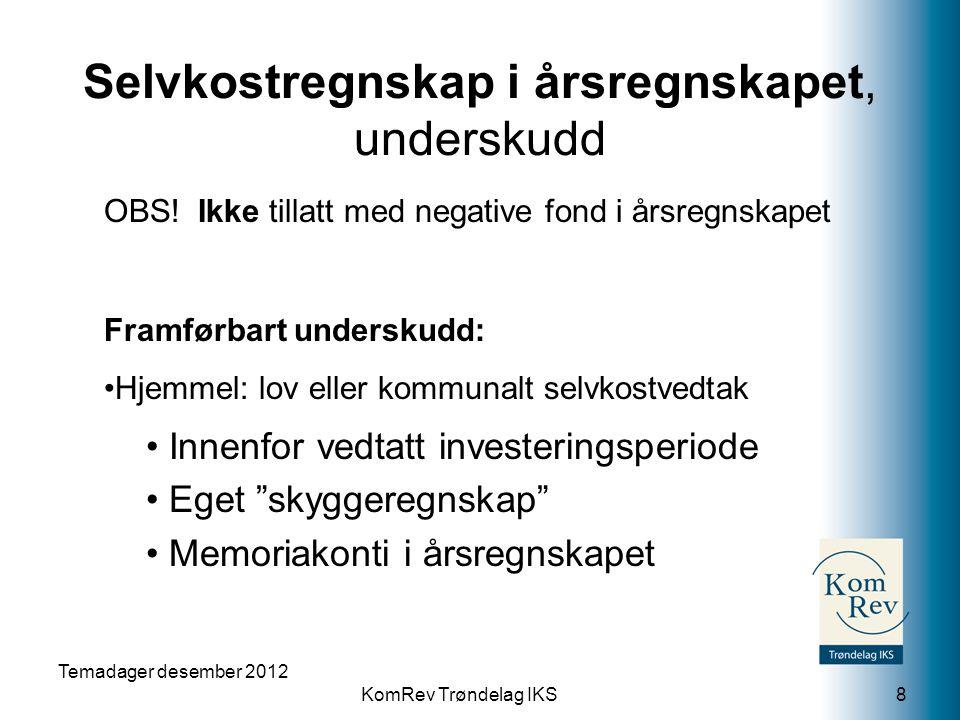 KomRev Trøndelag IKS Selvkostregnskap i årsregnskapet, underskudd OBS! Ikke tillatt med negative fond i årsregnskapet Framførbart underskudd: Hjemmel: