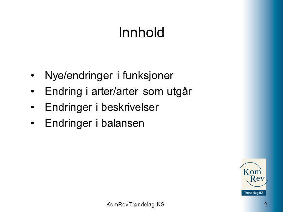 KomRev Trøndelag IKS Innhold Nye/endringer i funksjoner Endring i arter/arter som utgår Endringer i beskrivelser Endringer i balansen 2