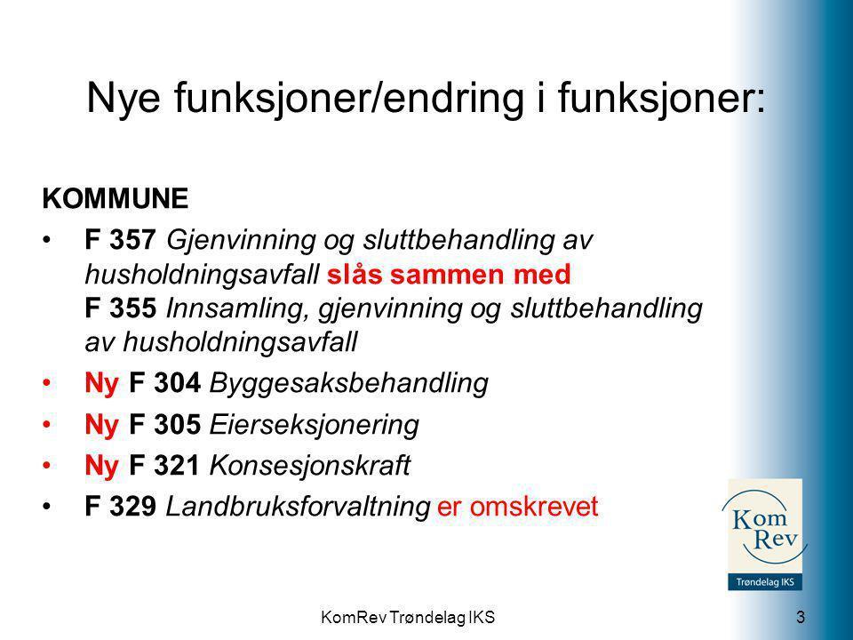 KomRev Trøndelag IKS Nye funksjoner/endring i funksjoner: FYLKESKOMMUNE F 560 Spesialundervisning utgår og splittes i: Ny F 561 Oppfølgingstjenesten og PPT Ny F 562 Spesialundervisning og særskilt opplæring Ny F 711 Konsesjonskraft 4