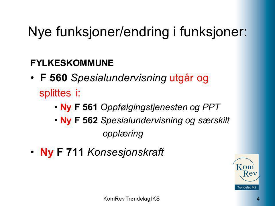 KomRev Trøndelag IKS Nye funksjoner/endring i funksjoner: FYLKESKOMMUNE F 560 Spesialundervisning utgår og splittes i: Ny F 561 Oppfølgingstjenesten o