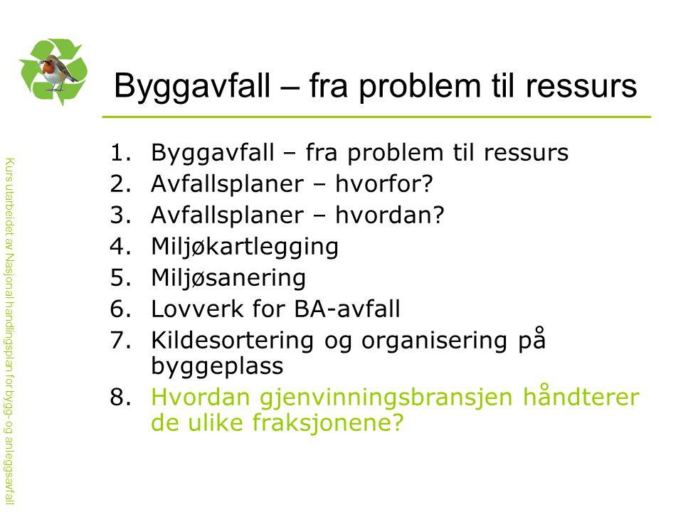 Kurs utarbeidet av Nasjonal handlingsplan for bygg- og anleggsavfall Byggavfall – fra problem til ressurs 1.Byggavfall – fra problem til ressurs 2.Avfallsplaner – hvorfor.