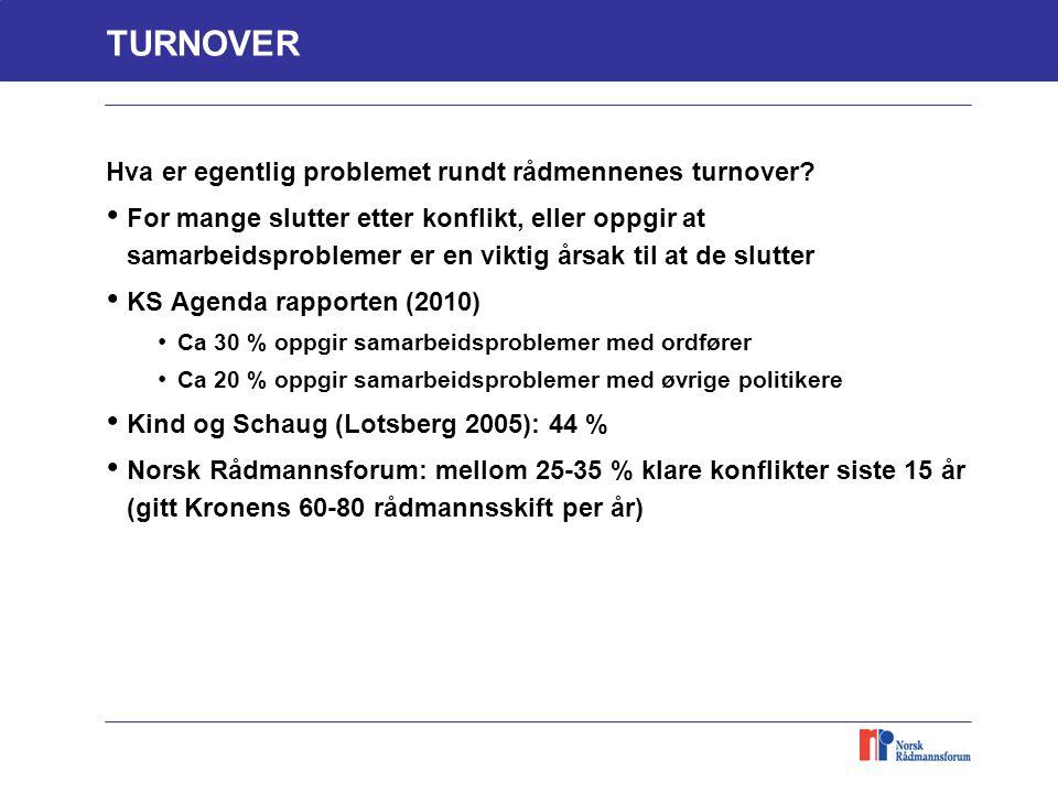 TURNOVER Hva er egentlig problemet rundt rådmennenes turnover? For mange slutter etter konflikt, eller oppgir at samarbeidsproblemer er en viktig årsa