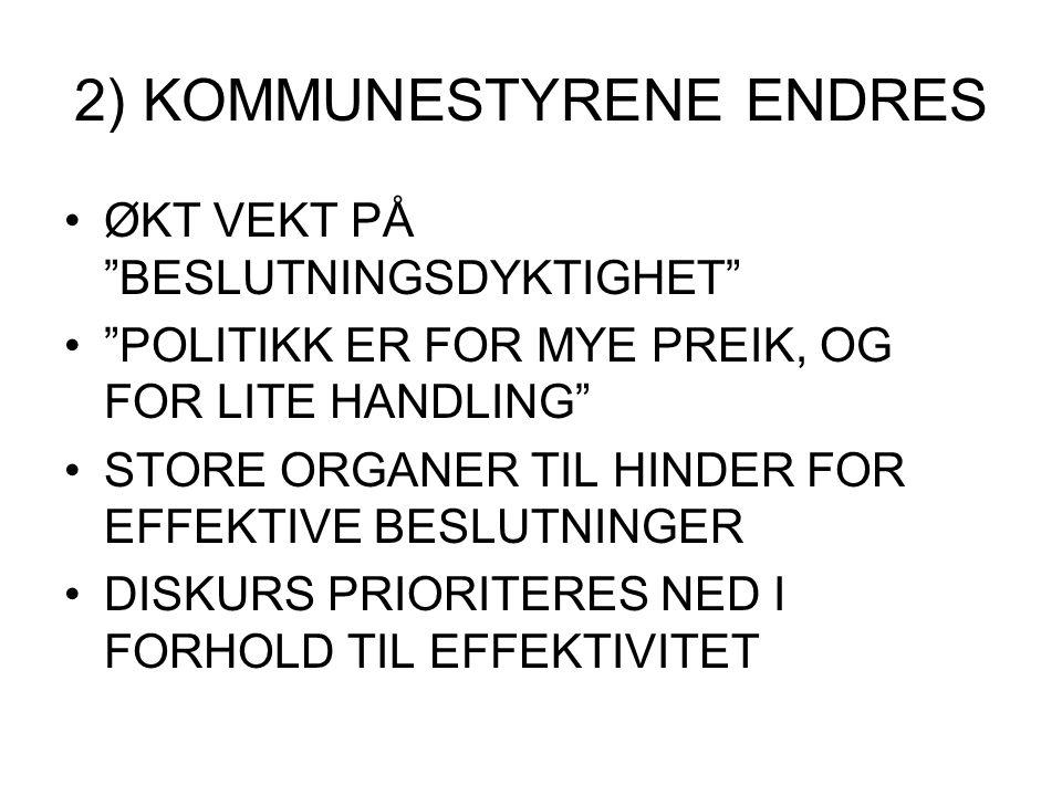"""2) KOMMUNESTYRENE ENDRES ØKT VEKT PÅ """"BESLUTNINGSDYKTIGHET"""" """"POLITIKK ER FOR MYE PREIK, OG FOR LITE HANDLING"""" STORE ORGANER TIL HINDER FOR EFFEKTIVE B"""