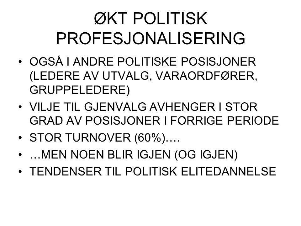 ØKT POLITISK PROFESJONALISERING OGSÅ I ANDRE POLITISKE POSISJONER (LEDERE AV UTVALG, VARAORDFØRER, GRUPPELEDERE) VILJE TIL GJENVALG AVHENGER I STOR GR