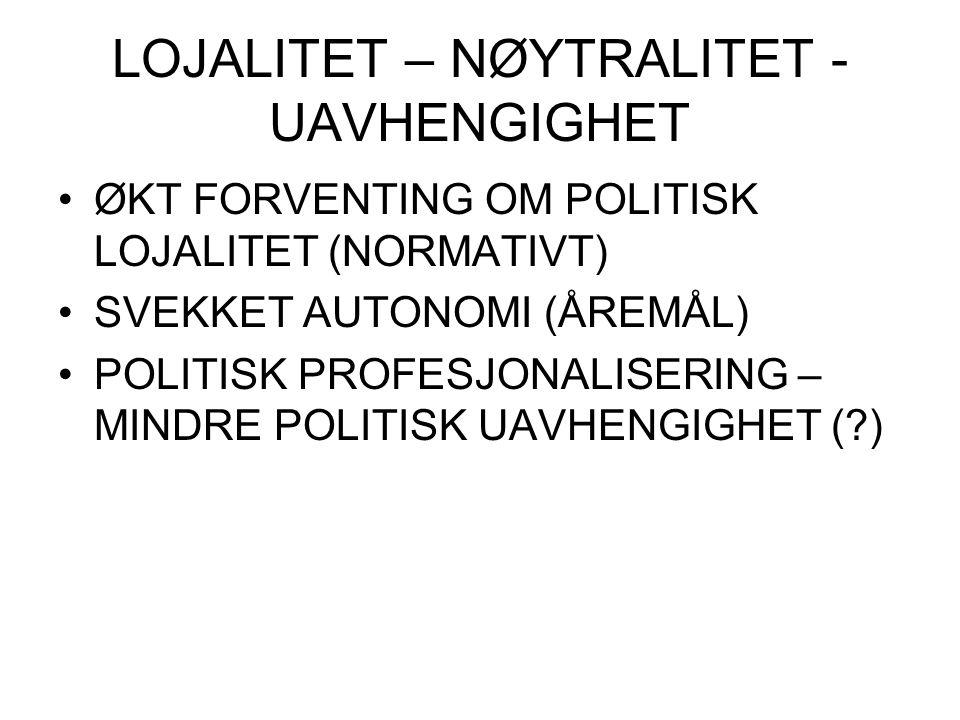 LOJALITET – NØYTRALITET - UAVHENGIGHET ØKT FORVENTING OM POLITISK LOJALITET (NORMATIVT) SVEKKET AUTONOMI (ÅREMÅL) POLITISK PROFESJONALISERING – MINDRE