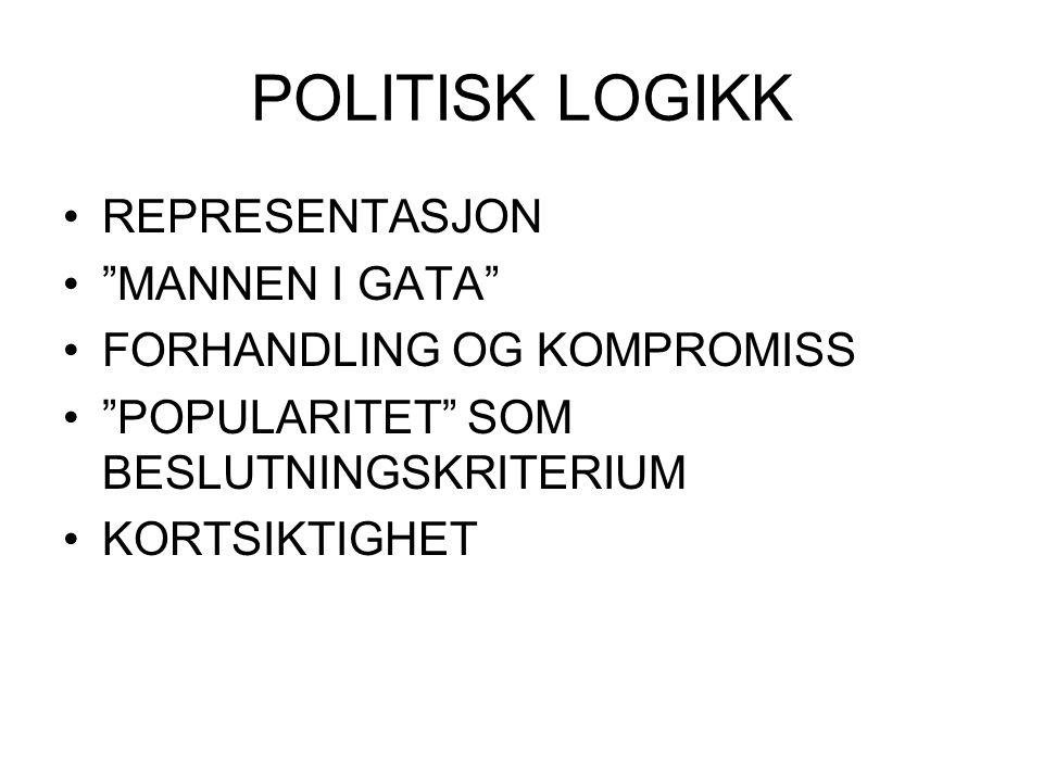 """POLITISK LOGIKK REPRESENTASJON """"MANNEN I GATA"""" FORHANDLING OG KOMPROMISS """"POPULARITET"""" SOM BESLUTNINGSKRITERIUM KORTSIKTIGHET"""