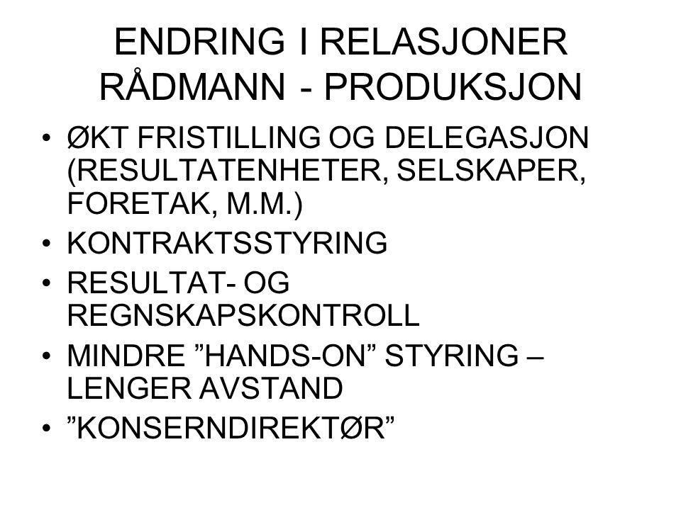 ENDRING I RELASJONER RÅDMANN - PRODUKSJON ØKT FRISTILLING OG DELEGASJON (RESULTATENHETER, SELSKAPER, FORETAK, M.M.) KONTRAKTSSTYRING RESULTAT- OG REGN