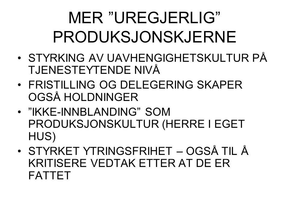 """MER """"UREGJERLIG"""" PRODUKSJONSKJERNE STYRKING AV UAVHENGIGHETSKULTUR PÅ TJENESTEYTENDE NIVÅ FRISTILLING OG DELEGERING SKAPER OGSÅ HOLDNINGER """"IKKE-INNBL"""