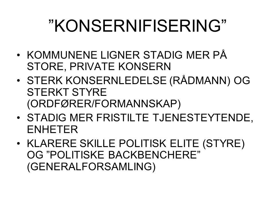 """""""KONSERNIFISERING"""" KOMMUNENE LIGNER STADIG MER PÅ STORE, PRIVATE KONSERN STERK KONSERNLEDELSE (RÅDMANN) OG STERKT STYRE (ORDFØRER/FORMANNSKAP) STADIG"""
