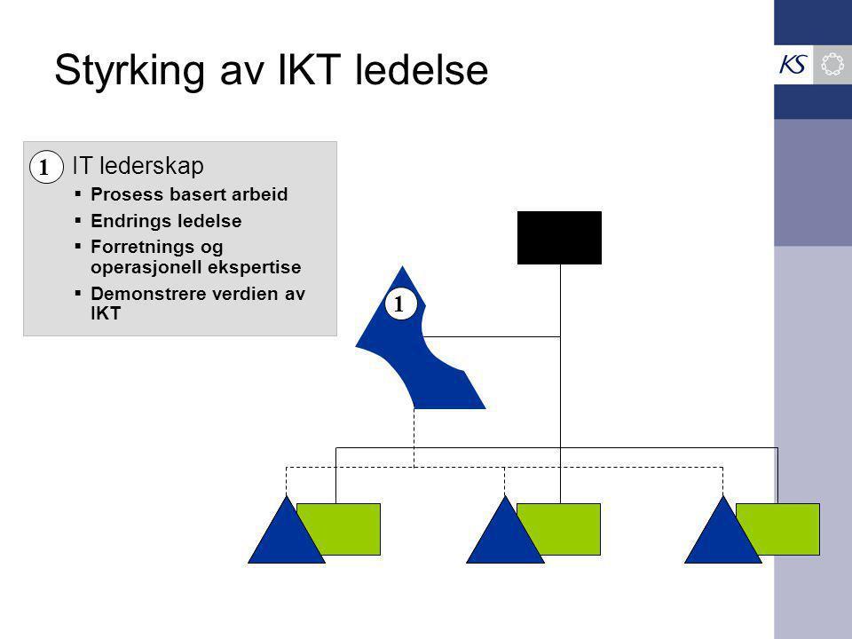 Styrking av IKT ledelse 1  Prosess basert arbeid  Endrings ledelse  Forretnings og operasjonell ekspertise  Demonstrere verdien av IKT 1 IT lederskap
