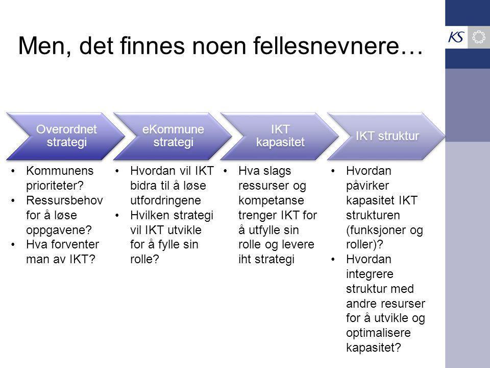 Overordnet strategi eKommune strategi IKT kapasitet IKT struktur Men, det finnes noen fellesnevnere… Kommunens prioriteter.