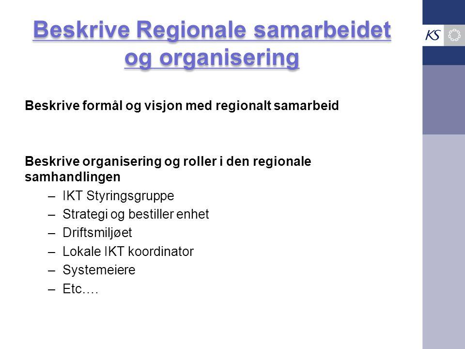 Beskrive Regionale samarbeidet og organisering Beskrive formål og visjon med regionalt samarbeid Beskrive organisering og roller i den regionale samha