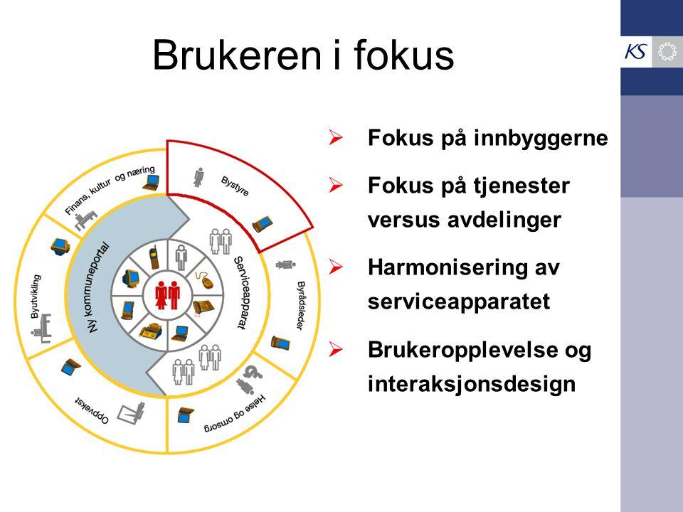 Brukeren i fokus  Fokus på innbyggerne  Fokus på tjenester versus avdelinger  Harmonisering av serviceapparatet  Brukeropplevelse og interaksjonsd