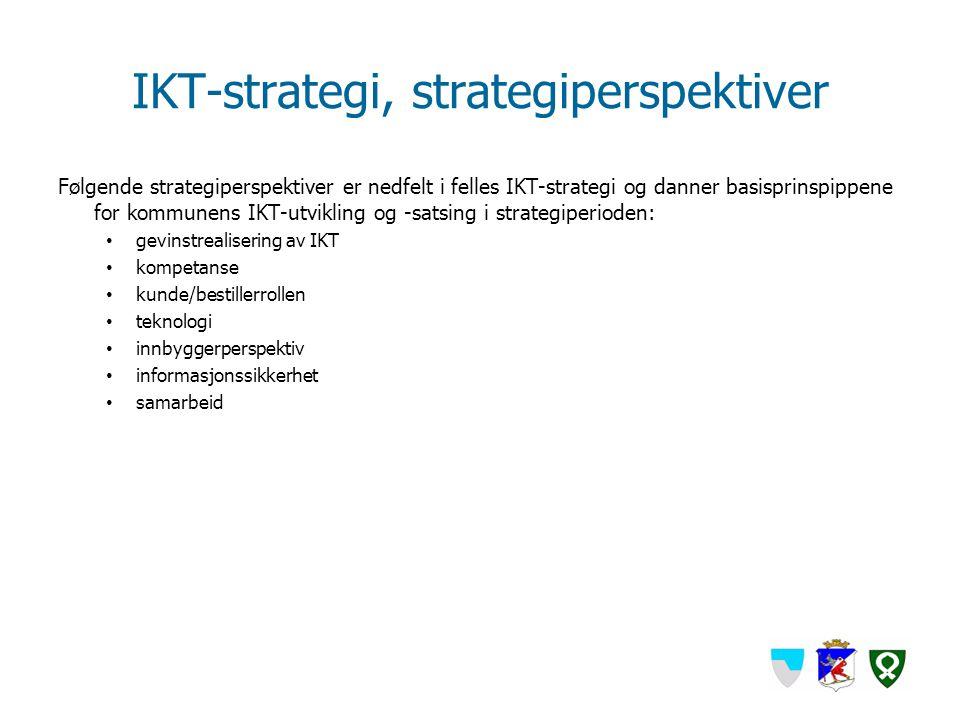 IKT-strategi, strategiperspektiver Følgende strategiperspektiver er nedfelt i felles IKT-strategi og danner basisprinspippene for kommunens IKT-utvikl