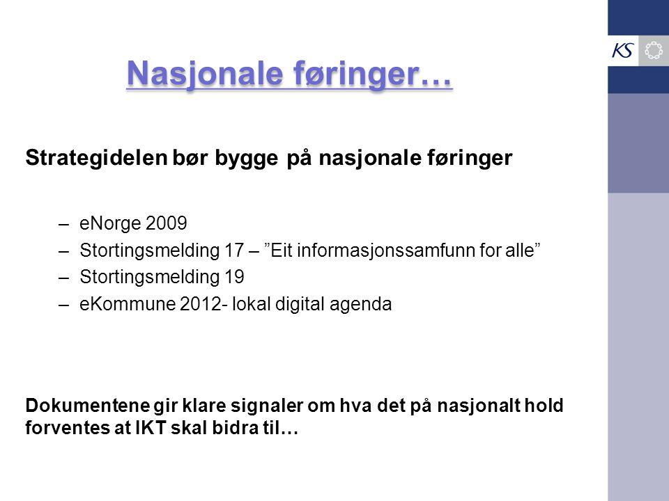 """Strategidelen bør bygge på nasjonale føringer –eNorge 2009 –Stortingsmelding 17 – """"Eit informasjonssamfunn for alle"""" –Stortingsmelding 19 –eKommune 20"""