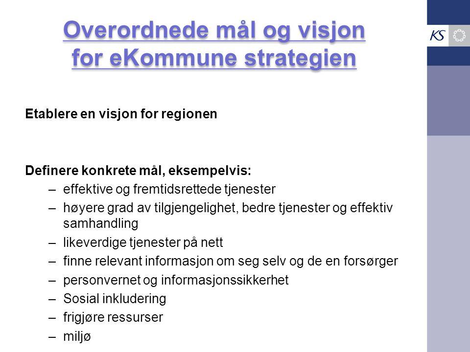 Overordnede mål og visjon for eKommune strategien Etablere en visjon for regionen Definere konkrete mål, eksempelvis: –effektive og fremtidsrettede tj