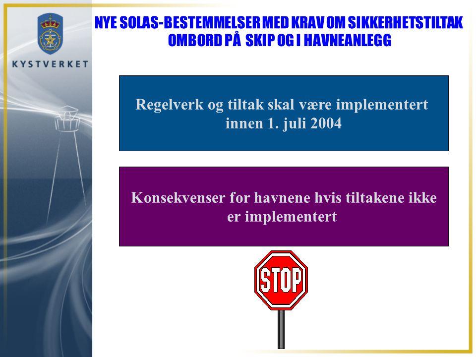 Regelverk og tiltak skal være implementert innen 1. juli 2004 Konsekvenser for havnene hvis tiltakene ikke er implementert