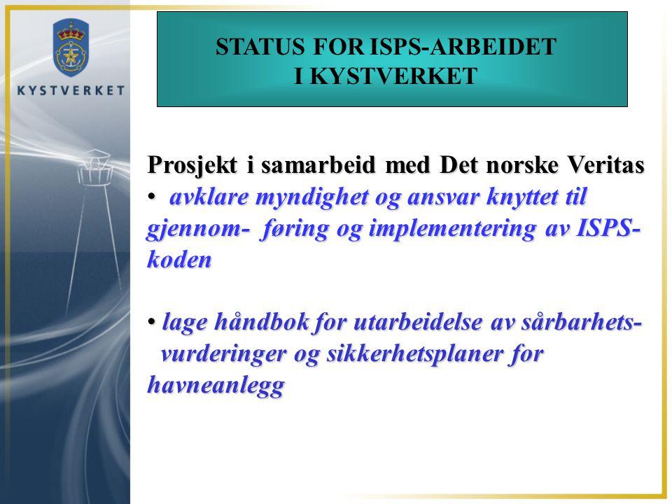 STATUS FOR ISPS-ARBEIDET I KYSTVERKET Prosjekt i samarbeid med Det norske Veritas avklare myndighet og ansvar knyttet til gjennom- føring og implement