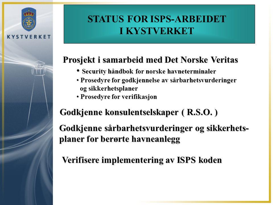 Godkjenne konsulentselskaper ( R.S.O. ) STATUS FOR ISPS-ARBEIDET I KYSTVERKET Prosjekt i samarbeid med Det Norske Veritas Security håndbok for norske