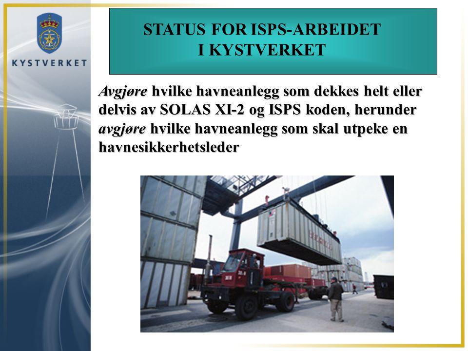 STATUS FOR ISPS-ARBEIDET I KYSTVERKET Avgjøre hvilke havneanlegg som dekkes helt eller delvis av SOLAS XI-2 og ISPS koden, herunder avgjøre hvilke hav