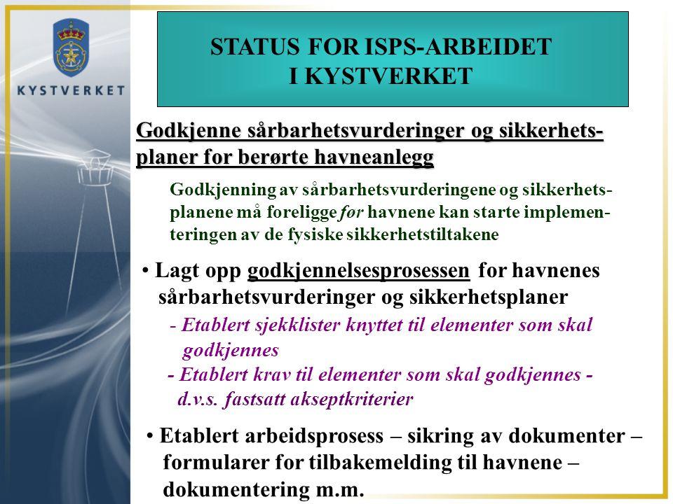 VEIEN VIDERE Godkjenne sårbarhetsvurderinger og sikkerhets- planer for berørte havneanlegg Godkjenning av sårbarhetsvurderingene og sikkerhets- planen