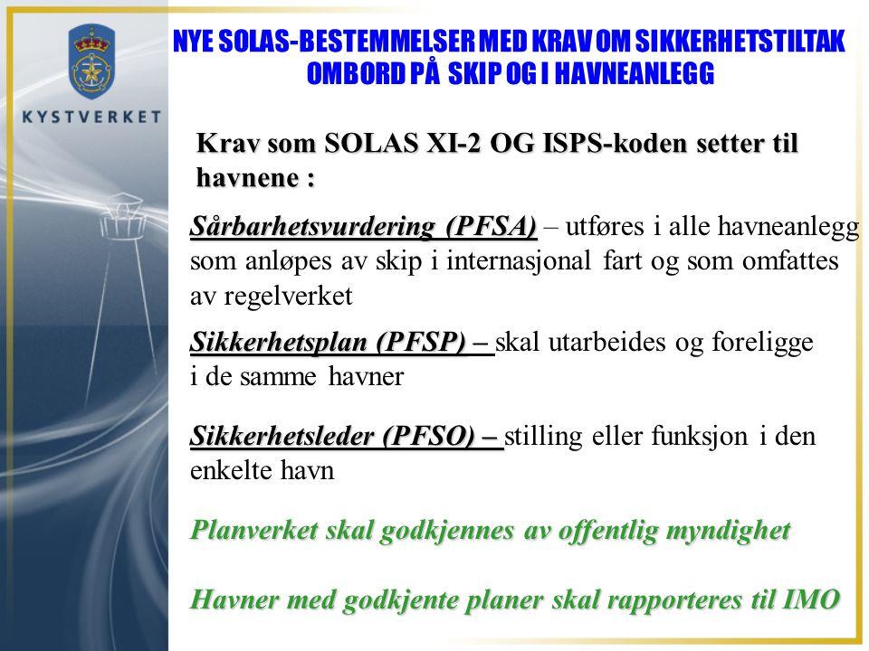 Krav som SOLAS XI-2 OG ISPS-koden setter til havnene : Sårbarhetsvurdering (PFSA) Sårbarhetsvurdering (PFSA) – utføres i alle havneanlegg som anløpes