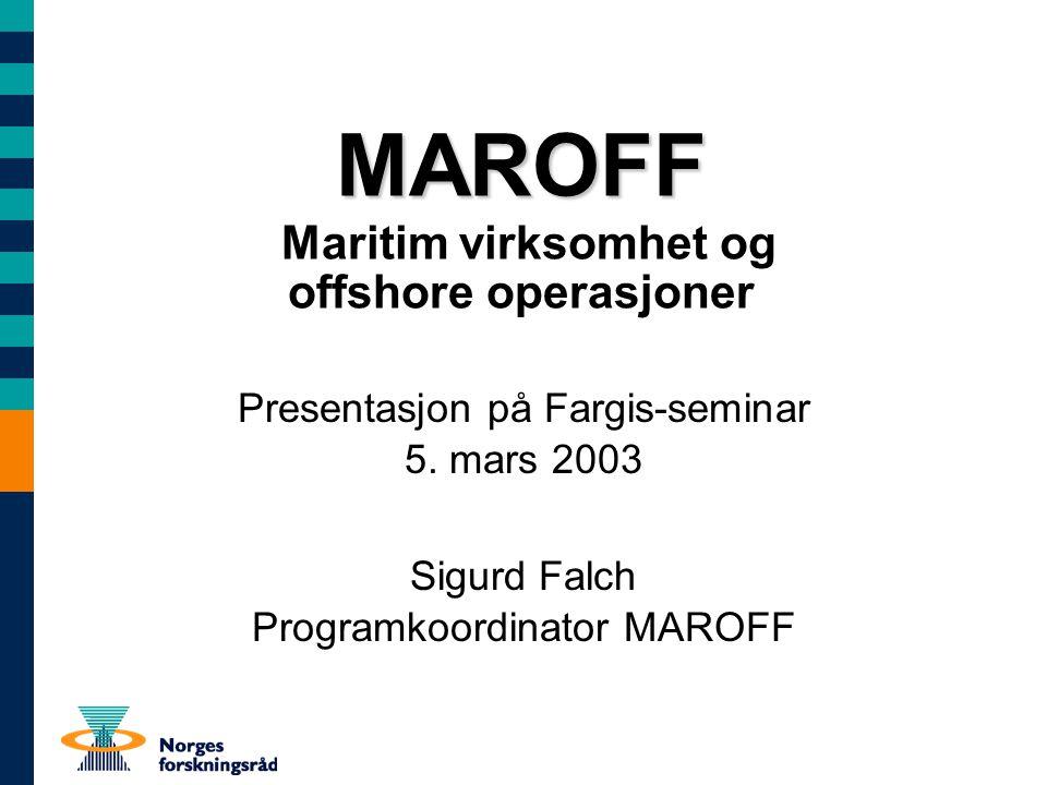 Fargis-seminar 05.03.03 Seaway@2010 initiativet Har tatt IE's nye FoU Strategi på alvor Kobling til nasjonale utfordringer Helheten fra idè til industrialisering Øke innsatsen til maritim forskning