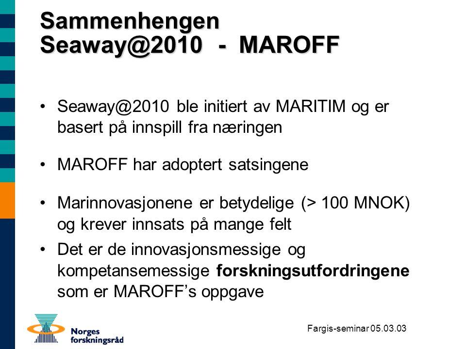 Fargis-seminar 05.03.03 Sammenhengen Seaway@2010 - MAROFF Seaway@2010 ble initiert av MARITIM og er basert på innspill fra næringen MAROFF har adopter