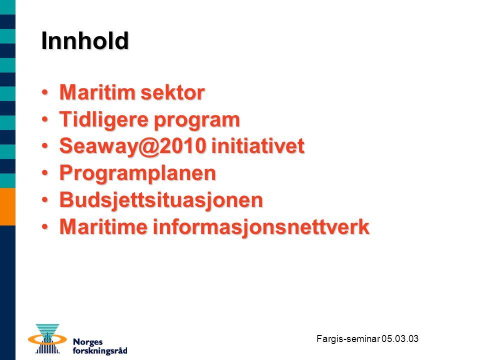 Fargis-seminar 05.03.03 Skipet er det fysiske resultat av prosessen i dette nettverket Skipsbyggings - nettverket Det inter- modale logistikk- nettverket Skips- drifts nettverket Nettverket for Sikkerhet, beredskap, miljøbeskyttelse Trafikkontroll (VTS) Navigasjon (ECDIS) - Shipsraportering, etc PFS/rev.06.10.96/rev.24.05.00/div-mv/marine informasjonsnettverk Maritime informasjonsnettverk